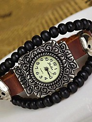 Women's Personality Bead Ancient Silver Leather Bracelet Watch