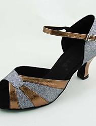 Zapatos de baile (Gris) - Danza latina - Personalizados - Tacón Personalizado