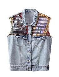 Women's Fashion Colour Bar Split Joint Denim Vest
