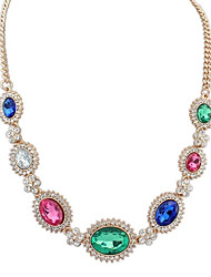 Women's Ethnic Gorgeous Oval Beaded Cluster Exquisite Bib Statement Necklace