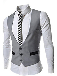 Men's Solid Casual Blazer,Cotton Sleeveless