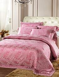 Xinxingmeng® Duvet Cover Sets Luxury 4 Piece Fuchsia Novelty Jacquard Full Queen
