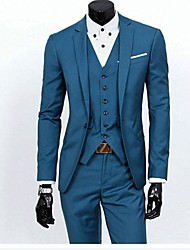 Men's Plus Size Black/Gray/Blue Korean  Style Slim Business Suit(Blazer & Pants)