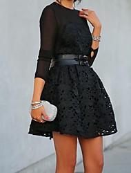 cordón de la flor de malla vestidos de negro una línea de mujeres
