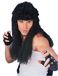 Soft Waves Long Black 60cm Men's Halloween Party Wig