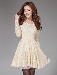 vestido de manga larga de encaje delgado elegante de la mujer