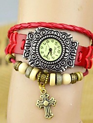 Women's Fashion Diamond The Cross Leather Bracelet Watch(assorted colors)