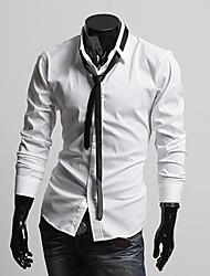 Herren Hemd-Einfarbig Büro / Formal Baumwollmischung Lang Schwarz / Weiß / Grau