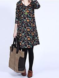 vestido de manga larga de la moda y la impresión de la vendimia de la maternidad