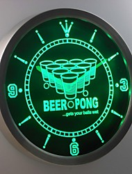 nc0407 Beer Pong Game Sport Bar Room Neon Sign LED Wall Clock