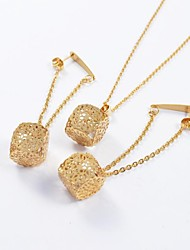 Fashion Gold Titanium Steel Hollow Out Flower CZ Diamond Inside (Necklace&Earrings) Jewelry Set