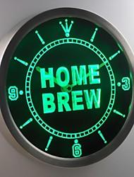 nc0456 club bar produção caseira de cerveja sinal de néon vinho levou relógio de parede