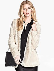Women Faux Fur Outerwear , Belt Not Included