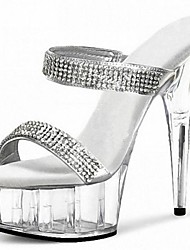 Women's Shoes Leatherette Summer Heels / Platform / Slide Party & Evening Stiletto Heel Rhinestone / Crystal / Crystal Heel / Slip-on