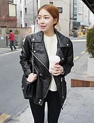 Women's Fashion Lapel Long Sleeved Motorcycle Leather Jacket