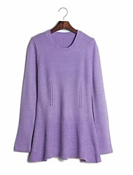 Women's White/Purple Pullover , Casual Long Sleeve
