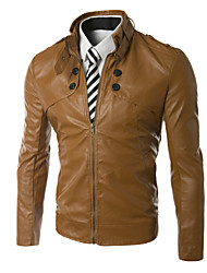 X-MAN Men's Short Slim Stand Collar Coat