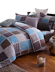 Hengyuanxiang Duvet Cover Set, 4-Pieceplaid grey vintage style, Austrialian wool