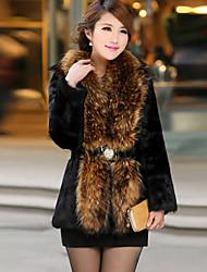 AiFeiLi Big Fur Collar Faux Rabbit Hair Long Coat (Black)