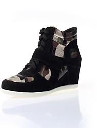 los zapatos de las mujeres de solaz cuña toe de ante de tacón zapatillas de deporte de moda redondas