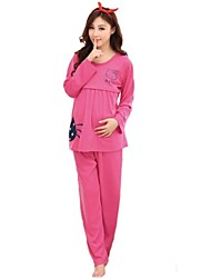 Maternity's Fashion Leisure Pure Color Breastfeeding Pajamas Clothing Set