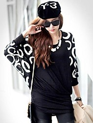 Zian® Women'  Fashion Pullover  Circle Diagram By Hand Loose T-Shirt