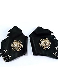 Gloves Inspired by One Piece Trafalgar Law Anime Cosplay Accessories Gloves Black PU Leather Male