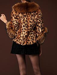 Роскошный леопардовым принтом zuoge женская свободная посадка полушубок