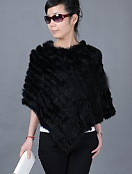 Women's Real Genuine Knitted Rabbit Fur Stole Poncho Cape