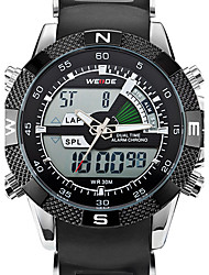 V6 ORKINA  WHITE LCD Dual Alarm Stopwatch Men's Sport RUBBER Bracelet Wristwatch