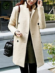 Women's Plus Size Coat,Solid Long Sleeve Winter Beige Thick