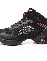Non Customizable Women's Dance Shoes Dance Sneakers Synthetic Low Heel Black/Pink
