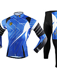 FJQXZ Men's Long Sleeve Cycling Jersey + Tights 3D Slim Cut Breathable Cycling Suit - Black + Blue