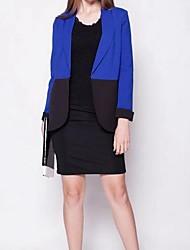 contraste de colores Blazers trajes ol moda mediados largo outwear