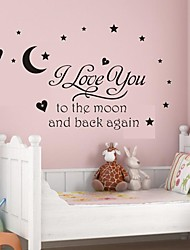 Wall Stickers Wall Decals, I Love You to The Moon PVC Wall Stickers