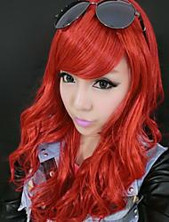 vino joven encantador largo rojo fiesta de halloween peluca de cabello rizado 55cm de las mujeres