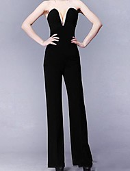 Women's White/Black Jumpsuits , Sexy/Casual Sleeveless