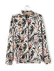 de manga larga de impresión floral camisas de la gasa de las mujeres
