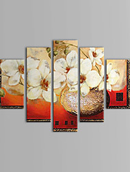 Hand Painted Oil Painting Floral White Elegant Flowers with Stretched Frame Set of 5