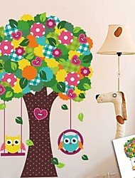 ZOOYOO® fashion removable vinyl materail 3D black color tree and owls wall sticker home decor Decal Art Mural Home Decor
