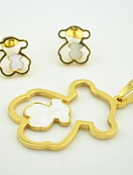 Toonykelly® Fashionable Little Bear with Shell Stainless Steel(Pendent with Earring)Jewelry Set
