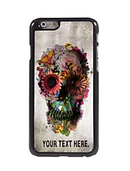 Personalized Case Skull and Flower Design Metal Case for iPhone 6 Plus