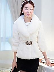 Women's Fox Fur Collar Rabbit Fur Coat