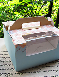 Baby Blue Gird Pattern Cake Favor Boxes