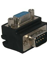 padrão ângulo direito de 90 graus db9p feminino para adaptador de conector de 9 pinos macho