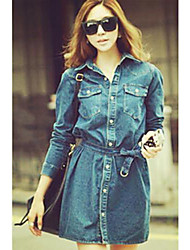 Women's Blue Denim Dress , Casual Long Sleeve