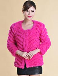 Fur Coats Long Sleeve Collarless Rabbit Fur Special Occasion/Casual Coat(More Colors)