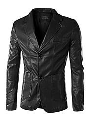 X-MAN Men's Slim Leisure Pu Fur Clothing Suit