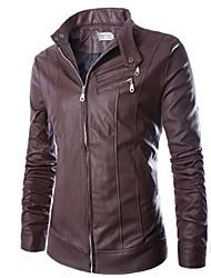 jaqueta de couro de moda casual masculina