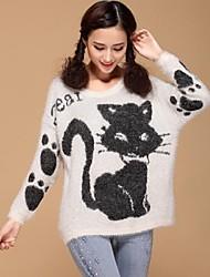 женская круглый воротник кошка свитер